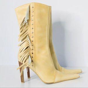 Steve Madden tahoee fringe leather boots size:8B